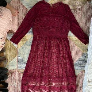 Midi long sleeve maroon dress